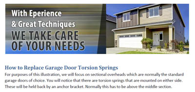 How to Replace Garage Door Torsion Springs - Garage Door Repair North Highlands